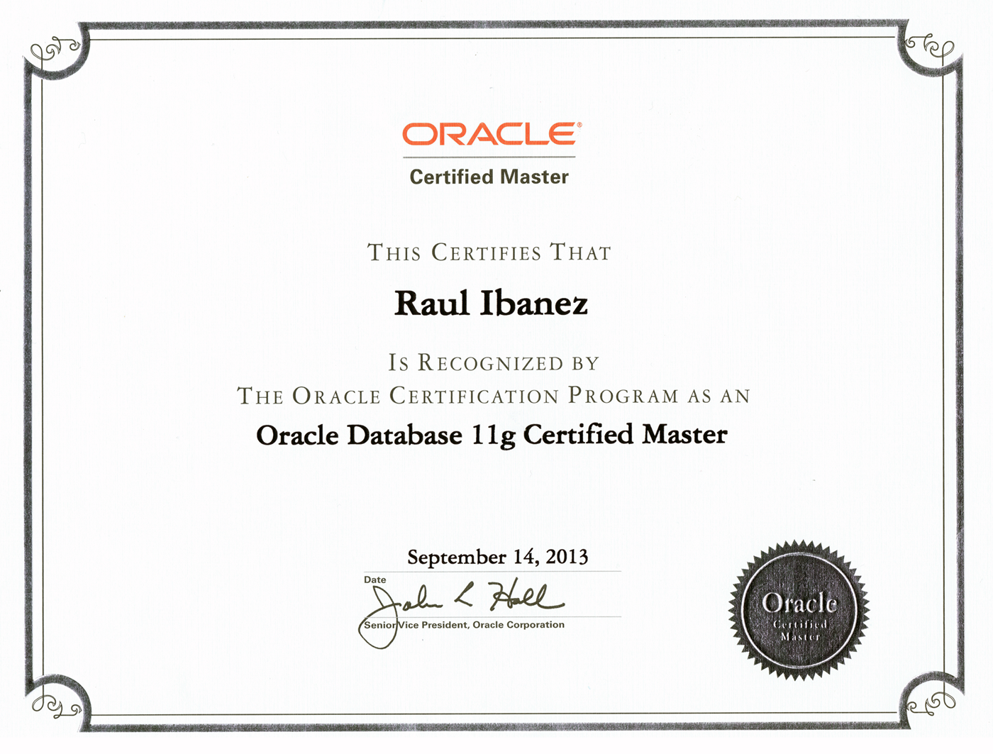 Oracle Certified Master 11g Title
